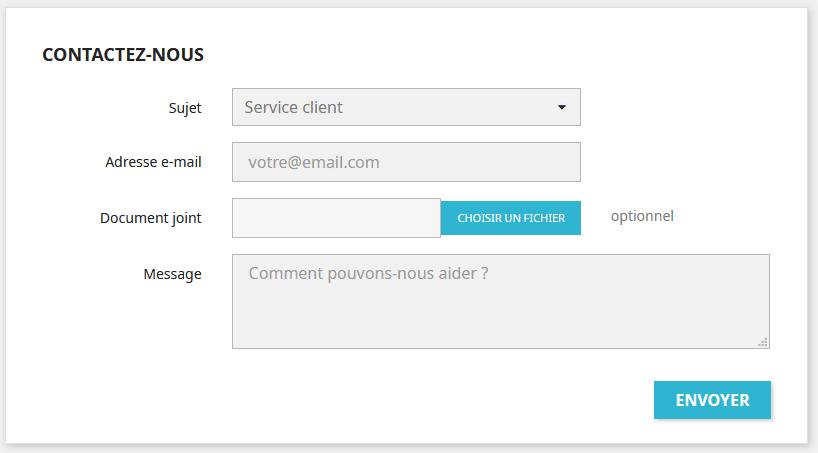formulaire de contact Prestashop 1.7 par défaut